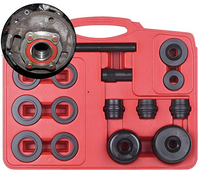 15 Piece Wheel Bearing Puller - Removal and Installation Tool - 15pc Universal Front Wheel Drive Bearing Removal Adapter Puller Tool Kit Set - Front Wheel Hub Bearing Assembly Removal Tools