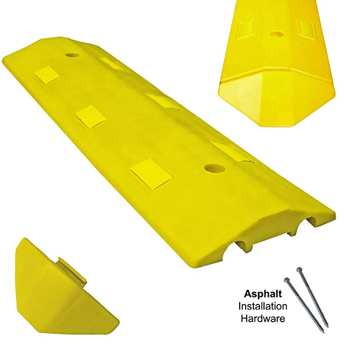 Electriduct Ultra Light Weight Economy Speed Bump - Yellow - 1 Piece (3 Feet) - Asphalt